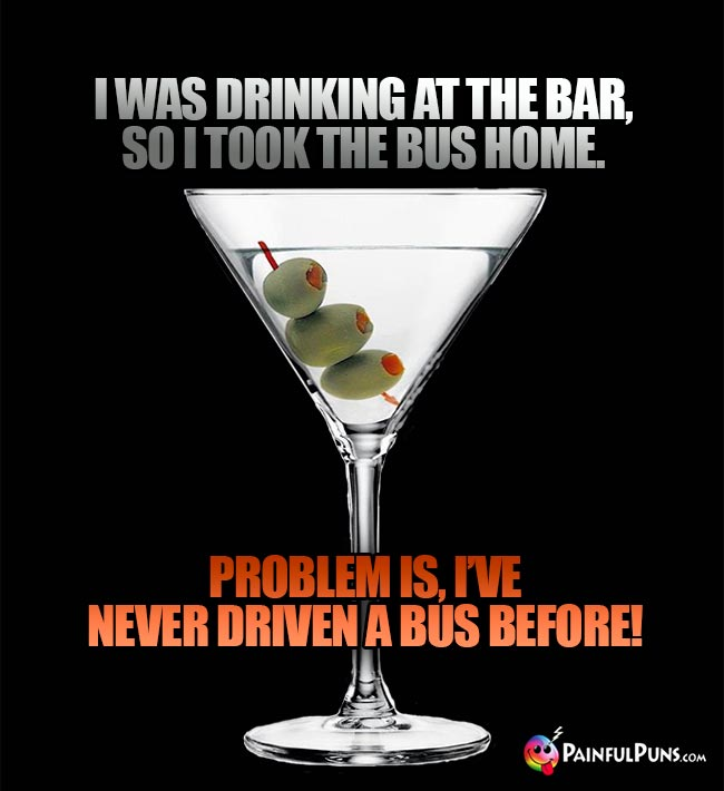 Martini says: I was drinking at the bar, so I thook the bus home. Problem is, I've never driven a bus before!