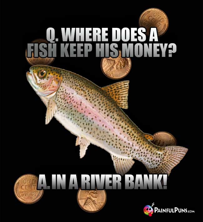 Q. Where does a fish keep his money? A. In a river bank!