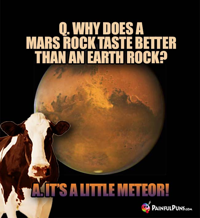 Q. Why does a Mars rock taste better than an Earth rock? A. It's a little meteor!