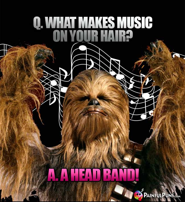 Wookie Asks: What makes music on your hair? A. A head band!