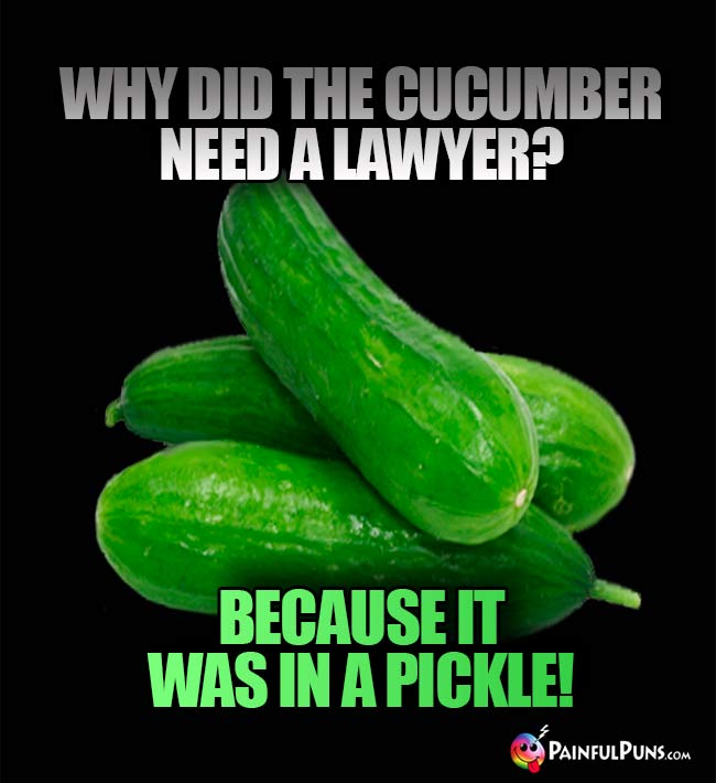 Why did the cucumber need a lawyer? Because it was in a pickle1