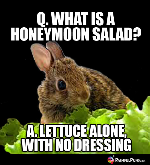 Q. What is a Honeymoon Salad? A. Lettuce alone, with no dressing