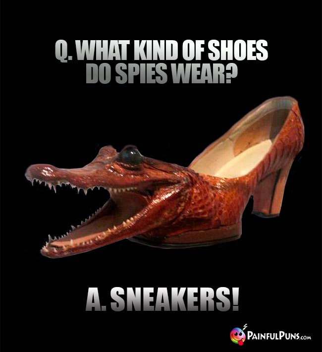 Q. What kind of shoes do spies wear? A. Sneakers!