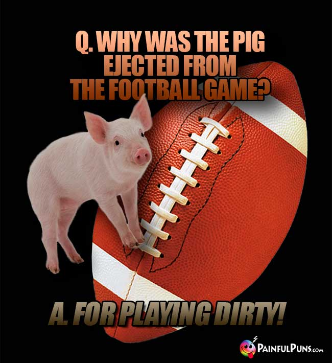 Q. Why was the pig ejected from the football game? A. For Playing Dirty!