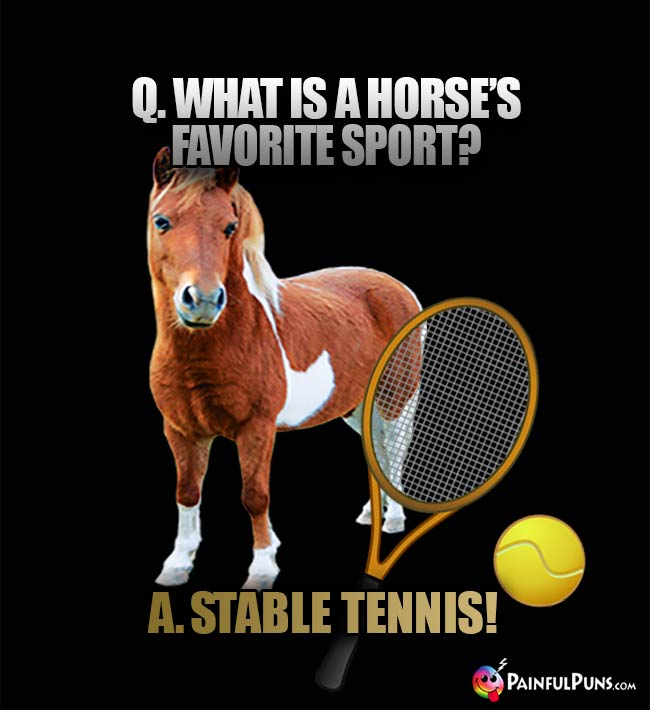 Q. What is a horse's favorite sport? A. Stable Tennis!