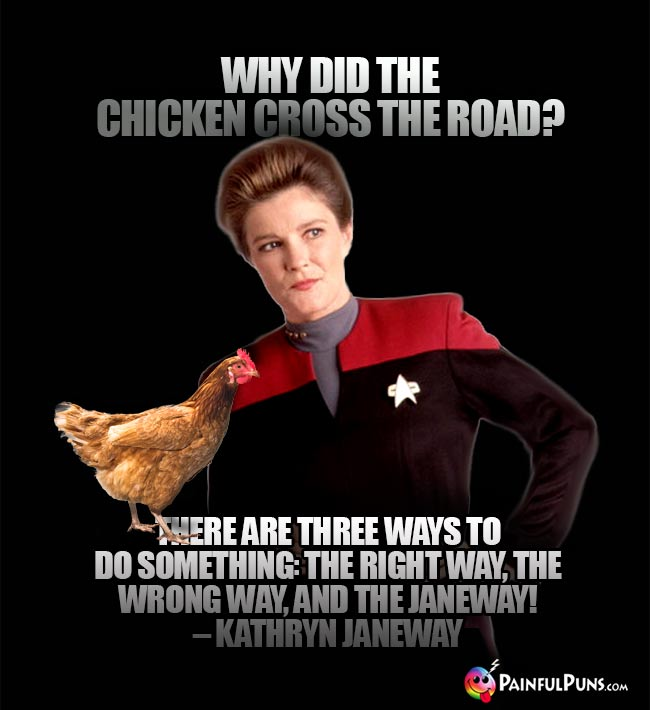 Why did the chicken cross the road? There are three ways to do something: The right way, the wrong way, and the Janeway! – Kathryn Janeway