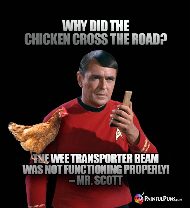 Why did the chicken cross the road? The wee transporter beam was not functioning properly! – Mr. Scott