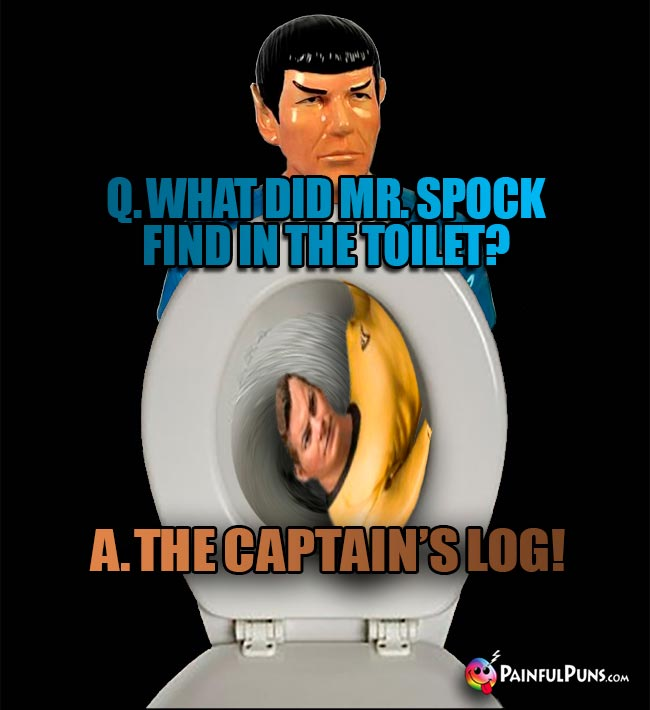 Q. What did Mr Spock find in the toilet? A. The Captain's Log!
