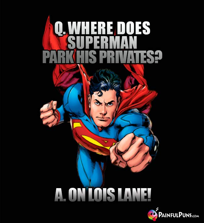 Q. Where does Superman park his privates? A. On Lois Lane!