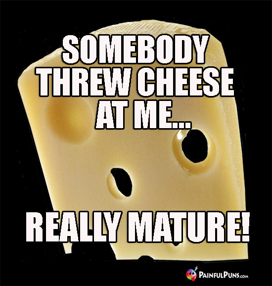 Cheesy Joke: Somebody Threw Cheese at Me... Really Mature!