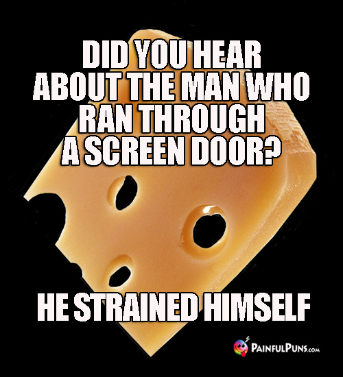 Cheesy Pun: Did you hear about the man who ran through a screen door? He strained himself.