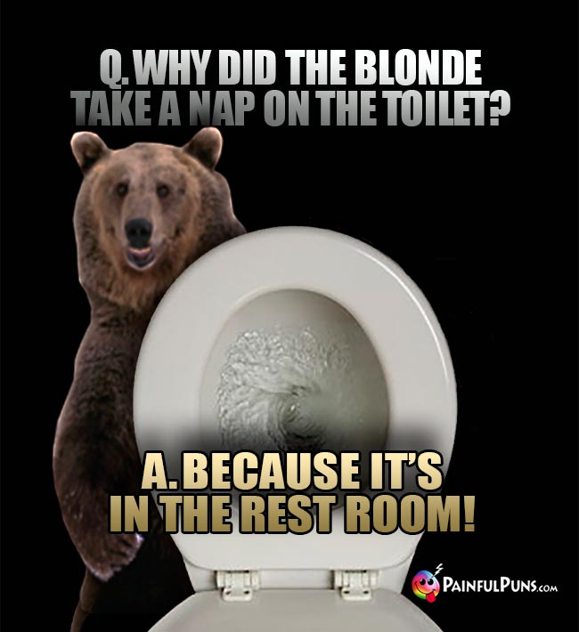 Q. Why did the blonde take a nap on the toilet? A. Because it's in the rest room!