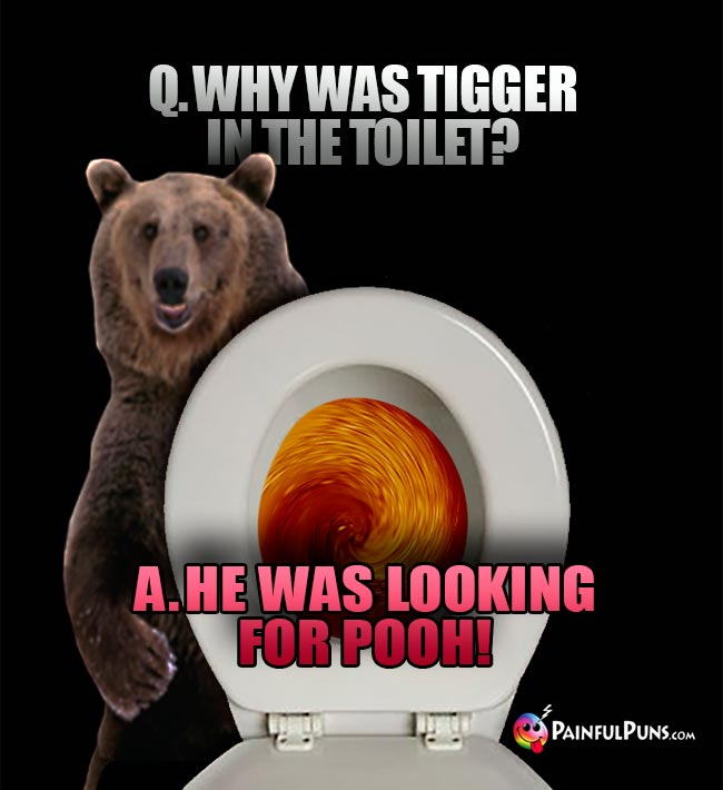Q. Why was Tigger in the toilet? A. He was looking for Pooh!