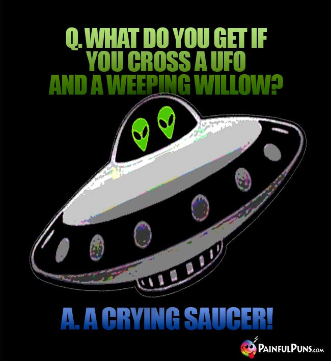 Q. What do you get if you cross a UFO and a weeping willow? A. A Crying Saucer!