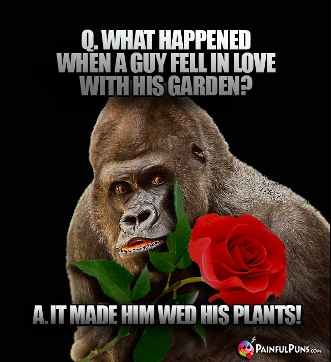 Q. What happened when a guy fell in love with his garden? A. It made him wed his plants!