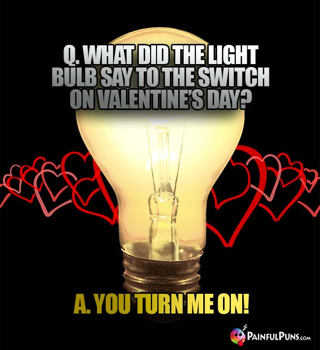 Q. What did the light bulb say to the swith on Valentine's Day? A. You Turn Me On!