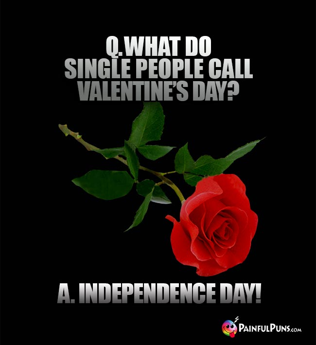 Q. What do single people call Valentine's Day? A. Independence Day!
