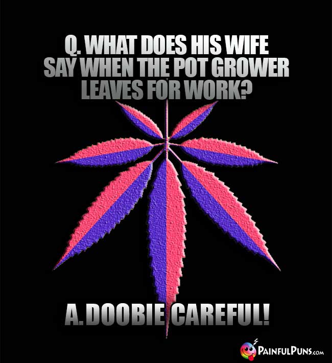 Q. What does his wife say when the pot grower leaves for work? A. Doobie Careful!