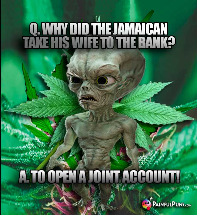 Q. Why did the Jamaican take his wife to the bank? A. To open a joint account!