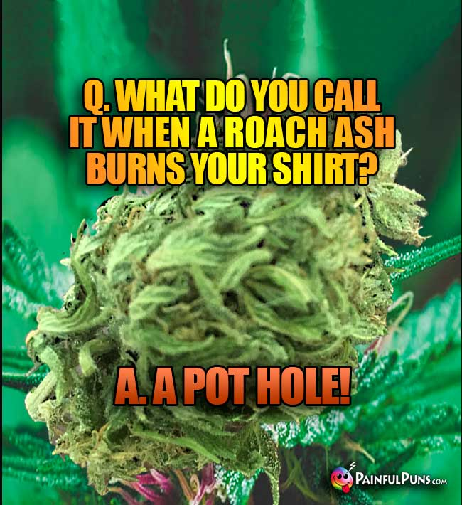 Bud Asks: What do you call it when a roah ash burns your shirt? A. A Pot Hole!