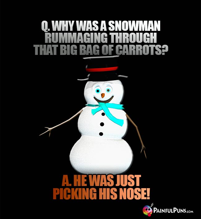Q. Why was a snowman rummaging through that big bag of carrots? A. He was just picking his hose!