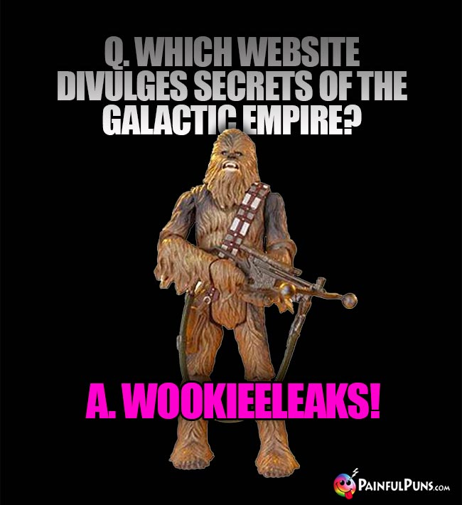 Q. Which website divulges secrets of the Galactic Empire? A. Wookieeleaks!