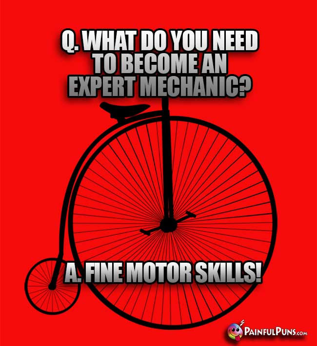 Q. What do you need to become an expert mechanic? A. Fine Motor Skills!