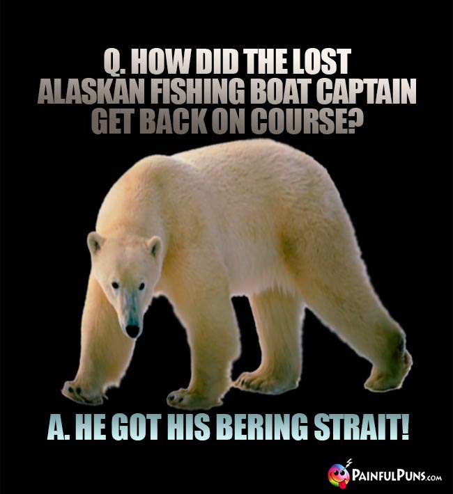 Q. How did the lost Alaskan fishing boat captain get back on course? A. He Got His Bering Strait!