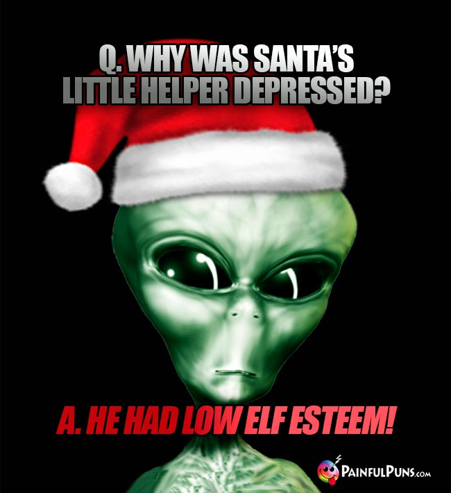 Q. Why was Santa's little helper depressed? A. He had low elf esteem!