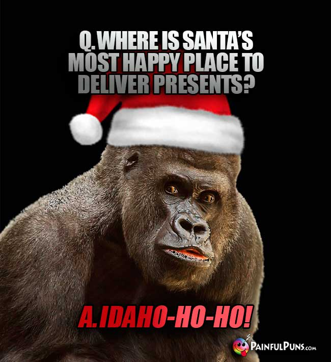 Q. Where is Santa's most happy place to deliever presents? A. Idaho-Ho-Ho!