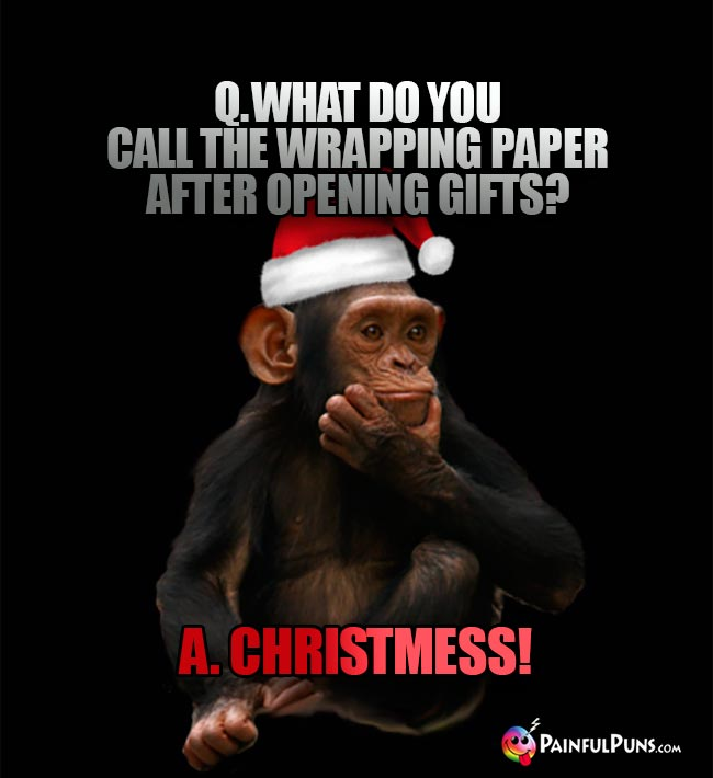 Q. What do you call the wrapping paper after opening gifts? A. Christmess!