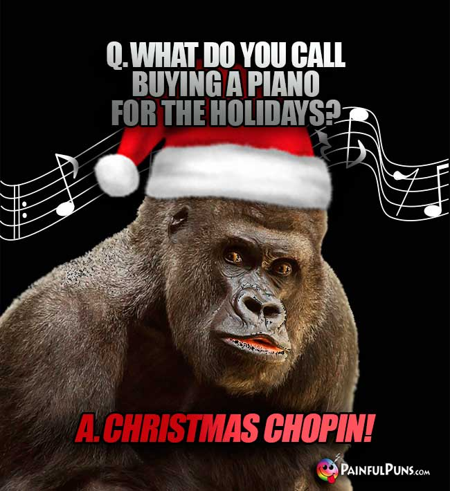 Q. What do you call buying a piano for the holidays? A. Christmas Chopin!
