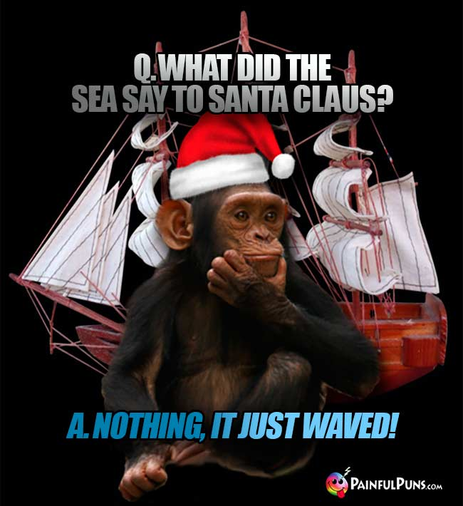Q. What did the sea say to Santa Claus? A. Nothing, it just waved!